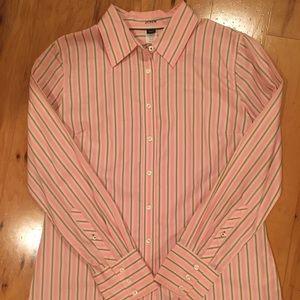 J Crew Pink Button-up Shirt With Green Strip